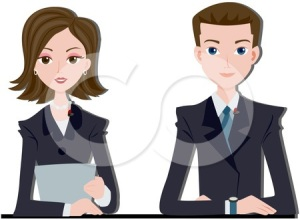 210269-Royalty-Free-RF-Clipart-Illustration-Of-A-News-Anchor-Couple-Seated-At-A-Desk