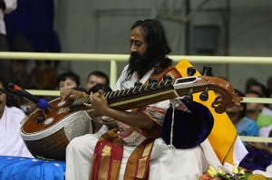 HH Gurudev Sri Sri Playing the Veena during Navratri