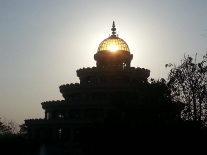 Sunset Through Vishalakshmi Mantap is The Art of Living Ashram