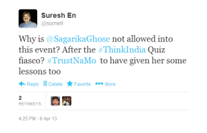 Missing in Action. There was a disaster of #ThinkIndia Quiz she moderated