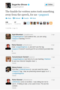 A few endearing response s (even from the Neo-Sickular Rahul Easwar) and she decides to make amends