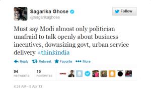 Effect of NaMo asking for Sagarika at #ThinkIndia