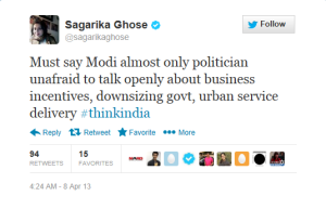 Effect of NaMo asking for Sagarika at #ThinkIndia