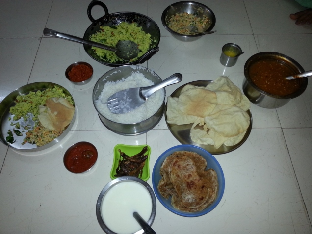 Traditional Fare, Except Pappad which is usually not made on this festival