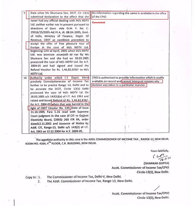 NDTV 1.46 crores refund RTI - 2 of 2